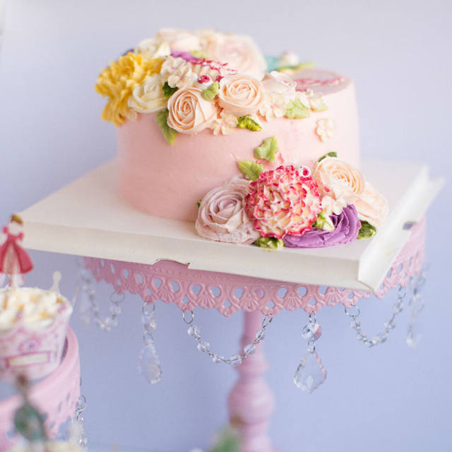 Online Shop Wedding cake stand Pink color glass metal cake stands ...