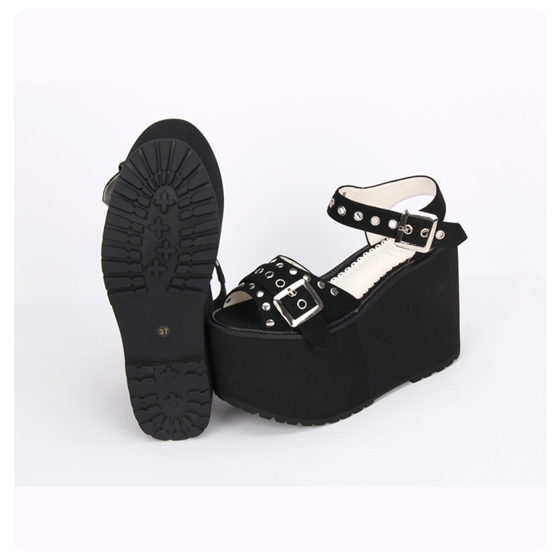 af8820615f Women's Super High Heels Thick Platform Black Rivet Peep Toe Wedges Japan  Harajuku Lolita Punk Sandals -in High Heels from Shoes on Aliexpress.com |  Alibaba ...