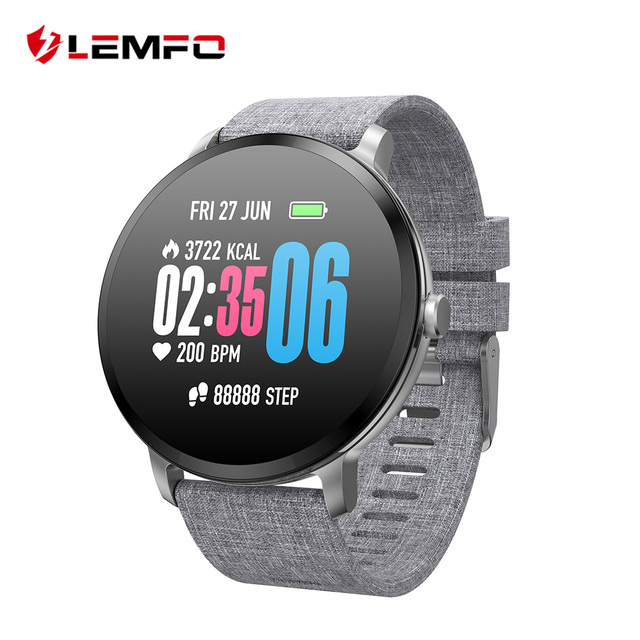 LEMFO V11 Smartwatch Men 1.3 Inch 240*240 Tempered Glass Screen Heart Rate Monitoring Weather Forecast Muti-sport Modes