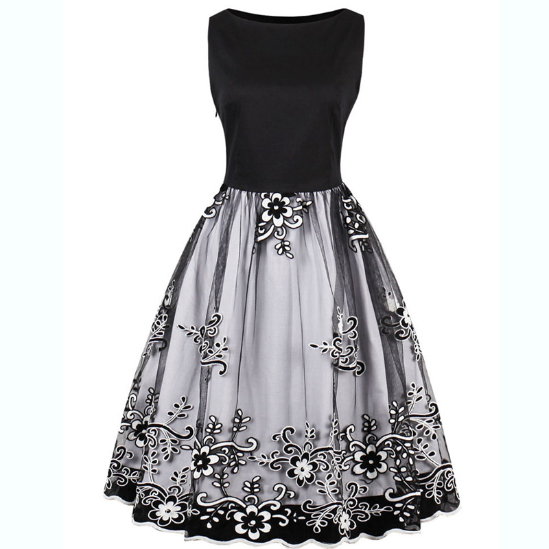 Plus Size Women Party Dress Tulle Embroidery Floral Print Lace Appliques Ball Gown Retro Rockabilly Swing Vintage Dress Vestidos