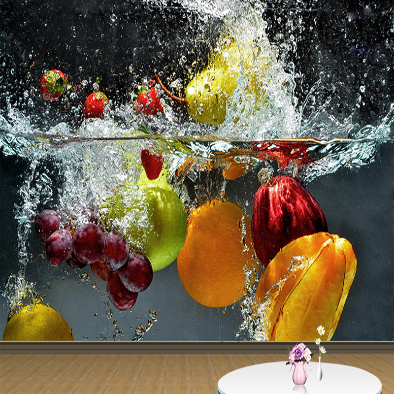 Free Shipping Large Mural Custom 3D Photo Wallpaper Fruits Spray Modern Creative Wall Papers Restaurant Living Room Home Decor custom mural wallpaper creative space forest path 3d wall sticker wallpaper modern living room bedroom door mural pvc home decor