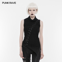 2017 Punk Rave Rock Black Collar Broken Steam Sleeveless T Shirt Steampunk Casual T Shirt Top