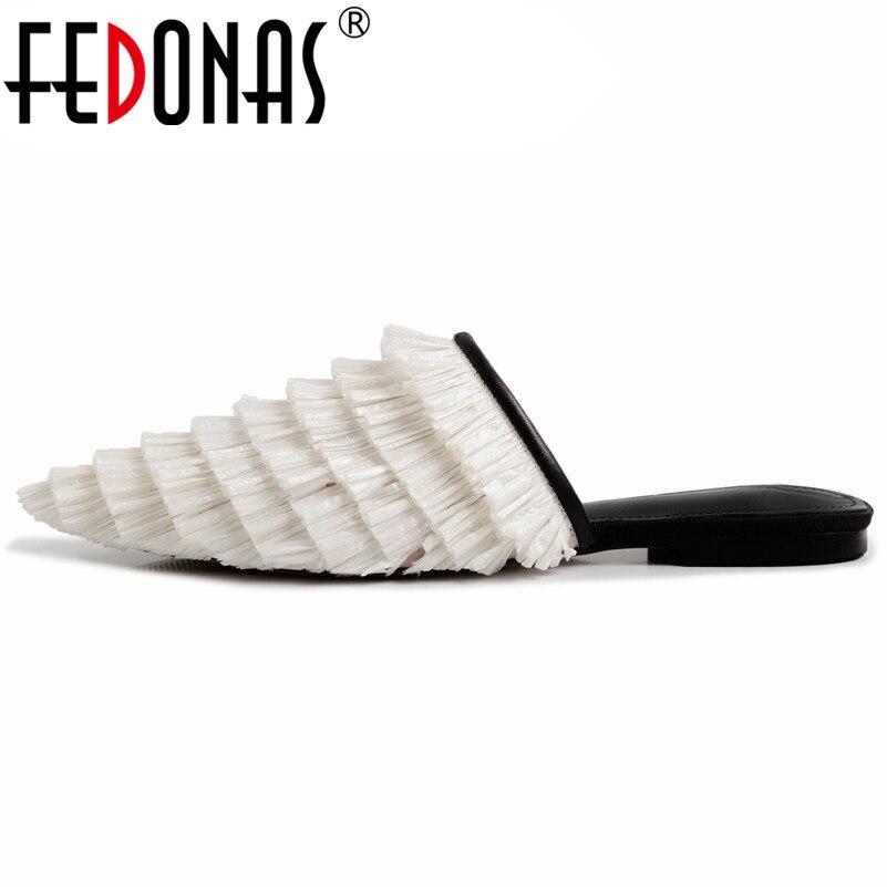 Flache Absätze Fedonas Frauen Neue Concise Elegante Pumps Qualität Cane Low Heels Spitz Sommer Sandalen Kleid Schuhe Frau Grundlegende Retro Sandalen Reine WeißE