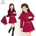 Girl Shawl Jacket Winter Autumn Outerwear Two Pieces Set Shawl+Dress Kid Clothing Set Vestido De Menina Vitality School Style