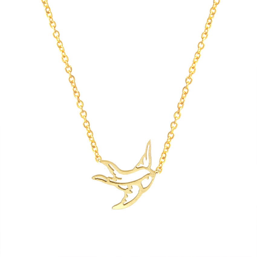 Origami Swallow Stud Earrings Pendant Necklace Men Women Gold Jewelry Sets Stainless Steel Cute Tiny Bird Brincos 2018 Schmuck 1