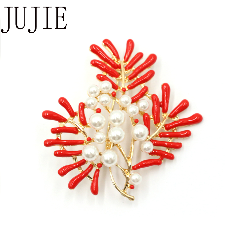 JUJIE 패션 진주 꽃 브로치 여성 브로치 코사지 - 패션 쥬얼리 - 사진 6