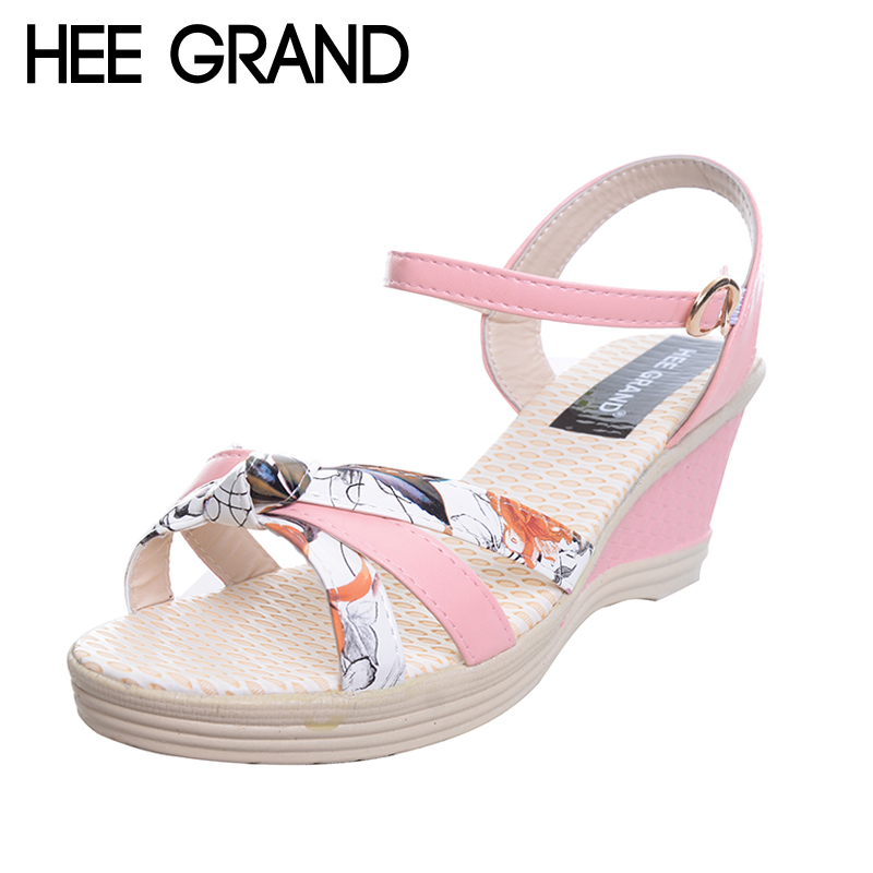 HEE GRAND Print Wedges Sandals Women Gladiator Platform Peep Toe Sandals Fashion Summer Style Shoes For Woman XWZ3823 timetang 2017 leather gladiator sandals comfort creepers platform casual shoes woman summer style mother women shoes xwd5583