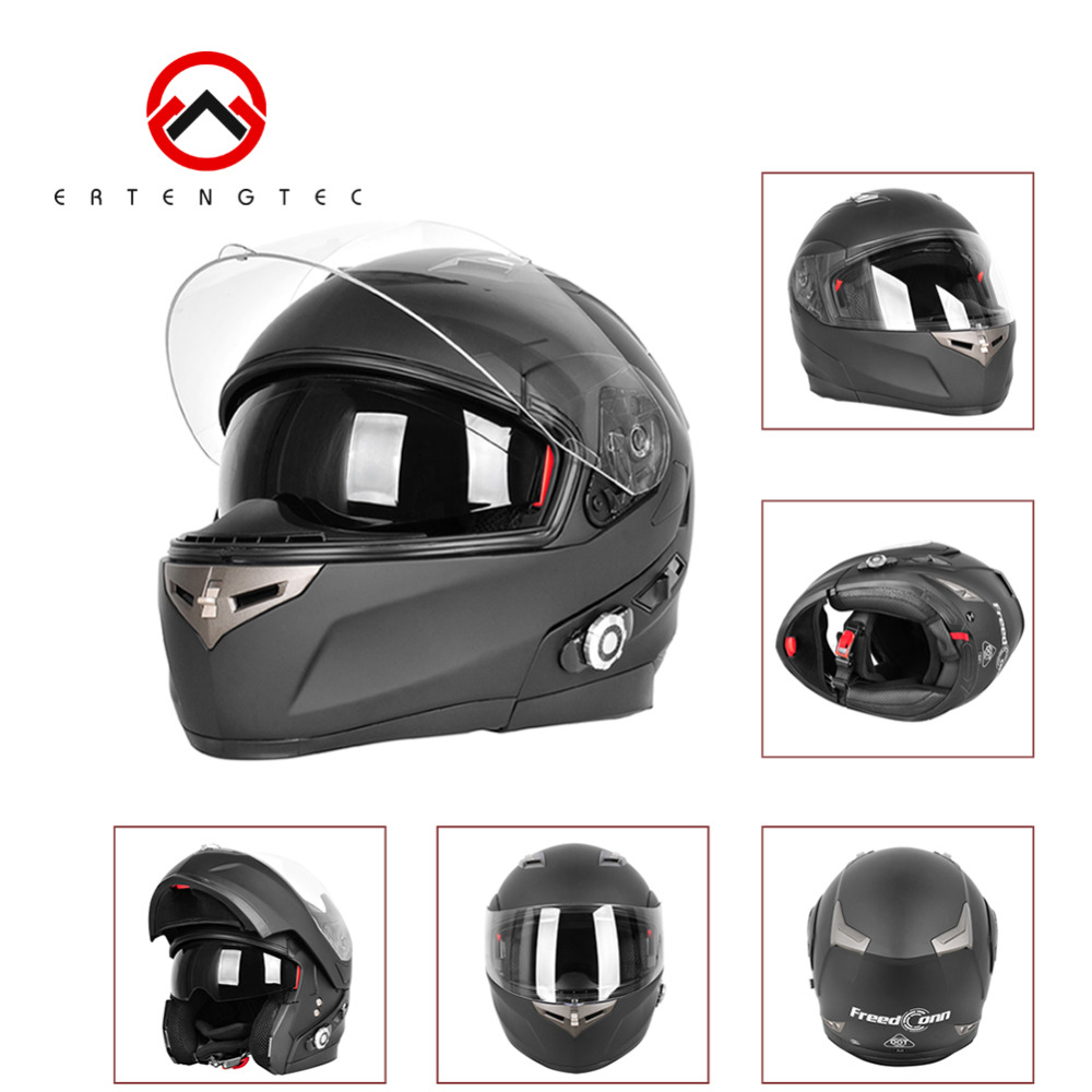Freeconn Motorcycle Helmets Headset Bluetooth BM2-S Built-in Battery 3Riders Talking Range 500 Meters Waterproof With FM Radio