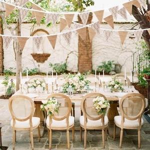 Image 5 - Ourwarm 3 メートル結婚式のレースバナー背景 13 フラグ黄麻布レースホオジロバナー diy 花輪ホームパーティー祭の装飾