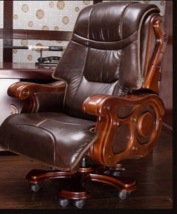 Solid wood chair. Office chair. Computer chair. Massage chair.019 boss chair real leather computer chair home massage can lie in the leather chair solid wood armrest office chair 26