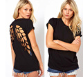 Sexy Women T-Shirts Black Engraving Hollow Angel Wings Round Neck Short Sleeve Women Clothing Brand New 2016 Autumn Summer
