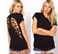 Sexy mujeres T-Shirts negro alas de ángel hueco grabado cuello redondo manga corta mujeres ropa a estrenar 2016 otoño verano