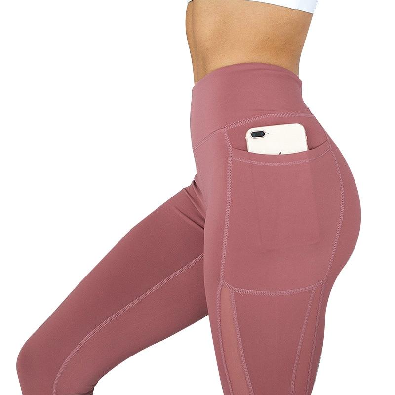 NORMOV Women Fitness Leggings High Waist Pocket Mesh Comfortable And Breathable Legging Workout Leggings Feminina Jeggings