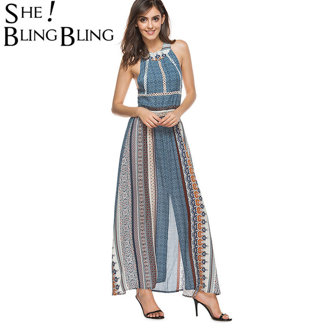 ddf8aeae411 SheBlingBling Casual Beach Dress Lace up Cutout Back Halter Dress Summer  Fashion Sleeve Slit Side Maxi Dress High Waist