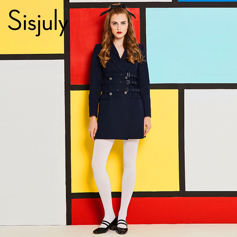 Sisjuly 60s vintage dresses autumn female girdle Blazer long sleeve Lapel belt notched dark blue retro elegant spring dresses