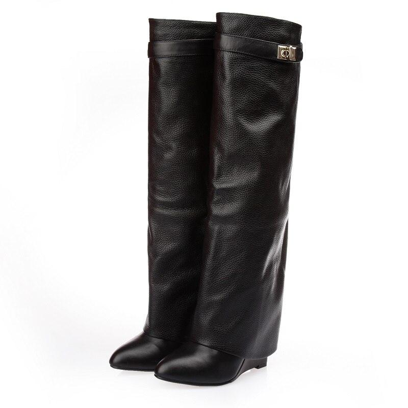 Femmes de luxe marque genou bottes hautes concis en métal décoration robe bottes ceinture boucle Wedge talon bottes gladiateur chaussures US10 - 2