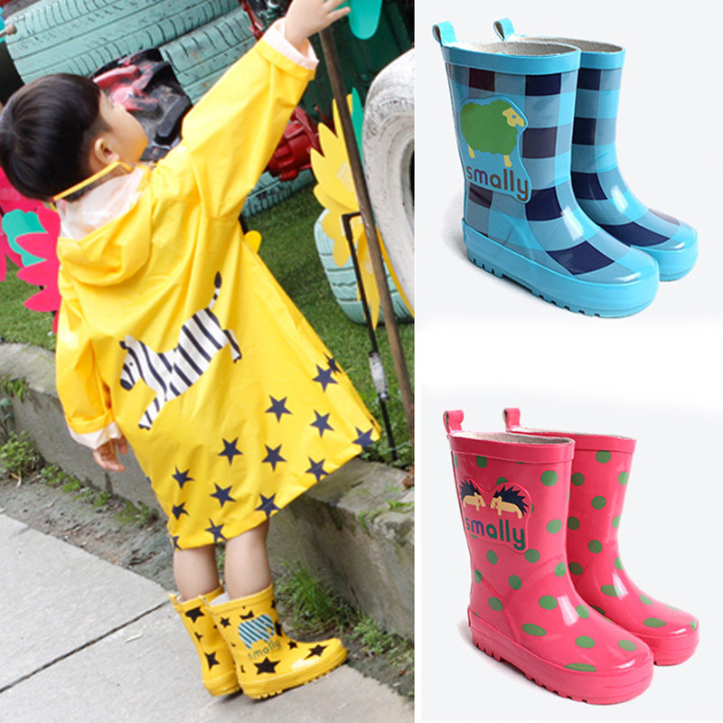 Kids Rainboots Girls Spots Rubbber Rain boots Children Mid Calf Waterproof shoes toddler baby boys rain boots