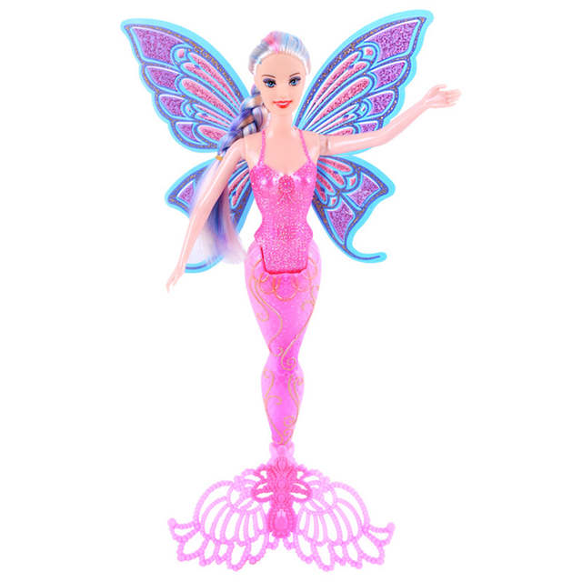 Oenux Purple Pink Blue Swimming Mermaid Doll Toy Fashion Ariel