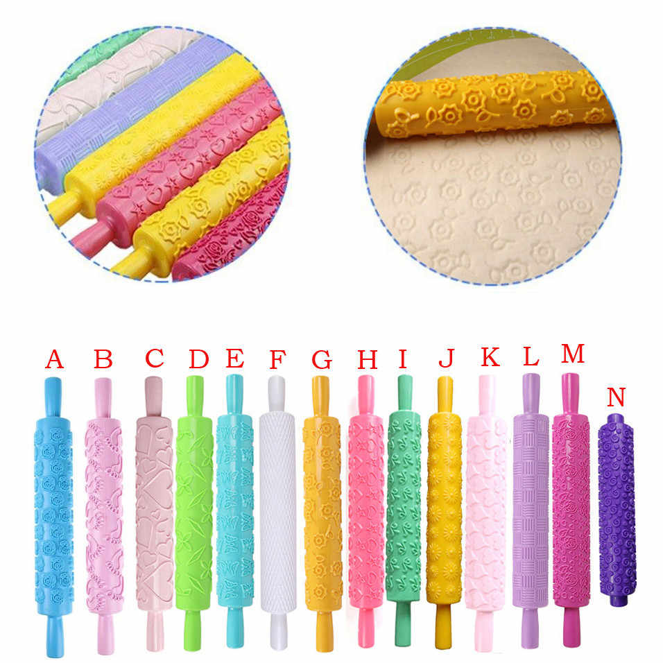14 Styles Cake Dough Baking crafts Portable Embossed Rolling Pin Heart Pattern Fondant Pastry Cake Decorating Tool usps