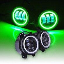4 Cal Runda Doprowadziły Światła Przeciwmgielne Niebieski Halo Pierścień/Biały Lampa DRL Żarówki Kąt Oczy Reflektorów Offroad dla Jeep Wrangler JK LJ TJ lampa