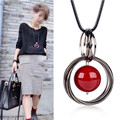 Women Pendant Necklaces Autumn And Winter Sweet All-match Long Necklace Leather Cord Beads Circle Red Sweater Chain