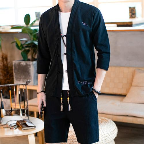 Loldeal Summer Linen Suit Men's Chinese Cotton Linen Long-sleeved Casual Shirt Shorts Two-piece