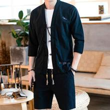 Loldeal Summer Linen Suit Mens Chinese Cotton Long-sleeved Casual Shirt Shorts Two-piece
