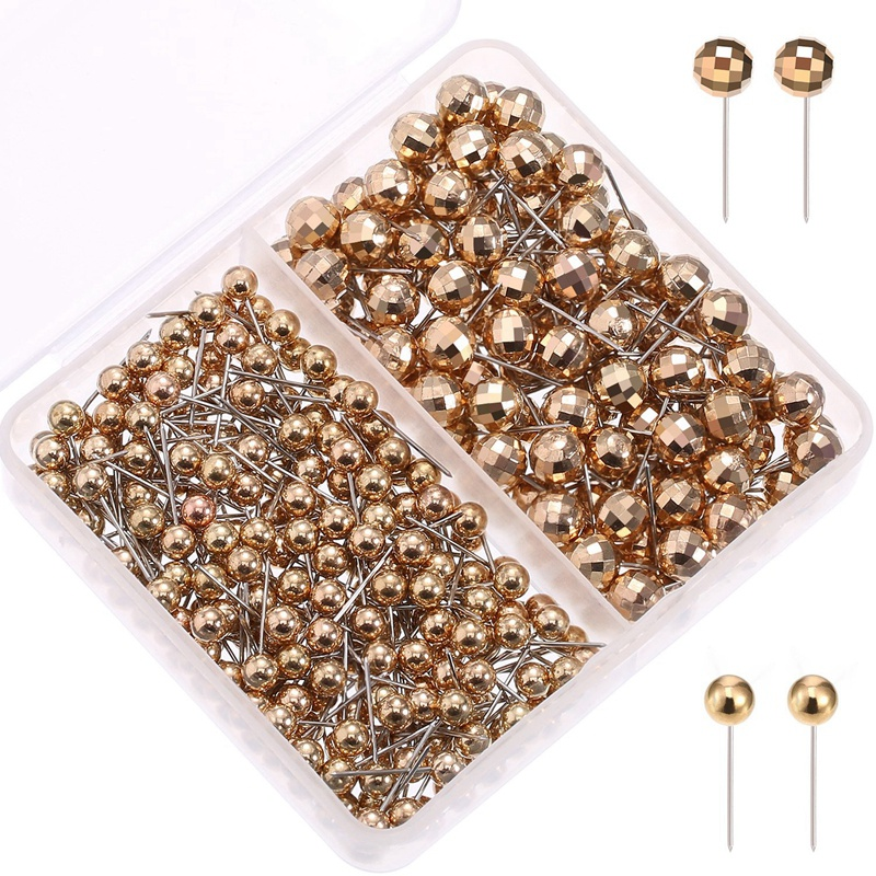 300 Pieces Map Tacks Push Pins With Gold Round Head Steel Point For Bulletin Board, Fabric Marking, 1/ 8 Inch, 1/ 4 Inch
