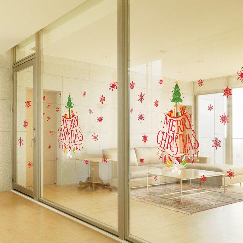 Snowflakes Merry Christmas Tree Vinyl wall sticker Decals Window decor Shop Decoration Mural Wallpaper