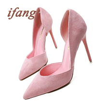 Ifang 2016 New Shoes Woman Pointed Toe Sexy Women Party Wedding Nightclub Shallow Mouth Two Piece Side Hollow Out High Heel Pump