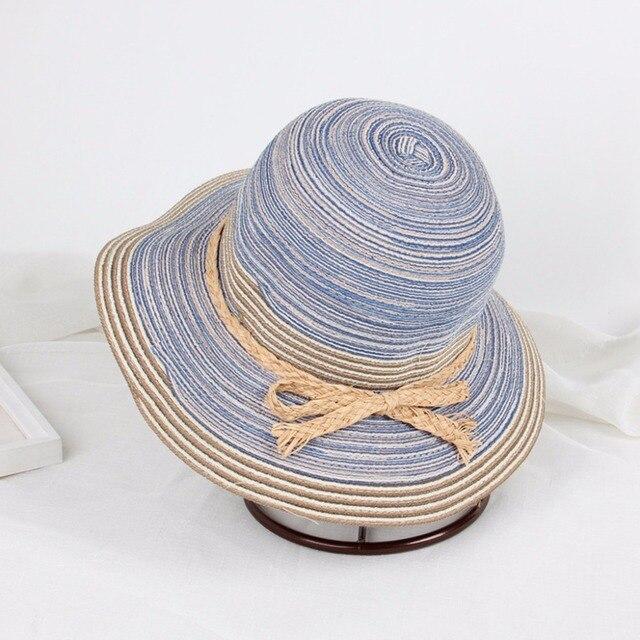 Mulheres Verão Dobrável Floppy Colorido Arco Tarja chapéu de Palha Balde  Chapéu de Sol de Praia 8072adf197a