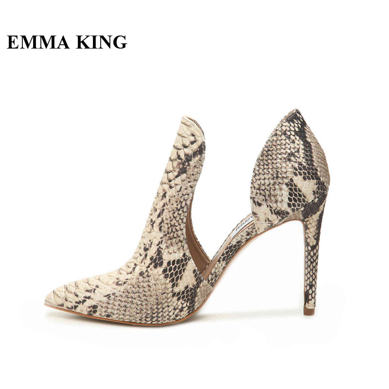 New Spring Autumn Ladies Snake Print Pumps Pointed Toe Cut Shallow High Heels Pumps Pointed Toe Party Dress Charming Shoes Women