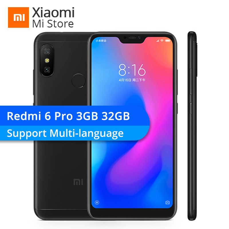 "Xiaomi Redmi 6 Pro 3gb Ram 32gb Rom Mobile Phone Snapdragon 625 Octa Core 5.84"" 19:9 Full Screen 12mp+5mp 4000mah"