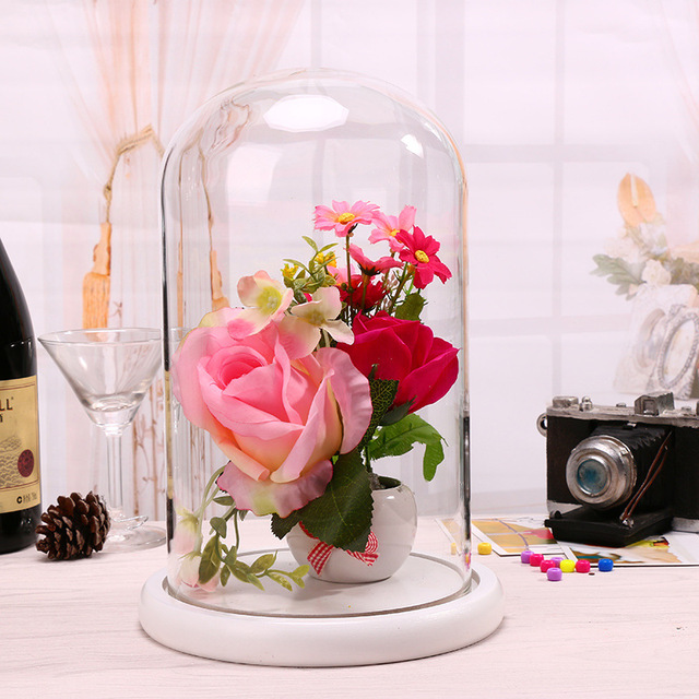 Wedding Gift Table Decoration Ideas: Glass Doll Dome With White Bamboo Base For Wedding Party