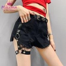 Сексуальные ПАНК шорты с высокой талией в стиле рок и металлическими заклепками, обтягивающие Женские шорты, черные шорты для девушек в готическом стиле, S-XL