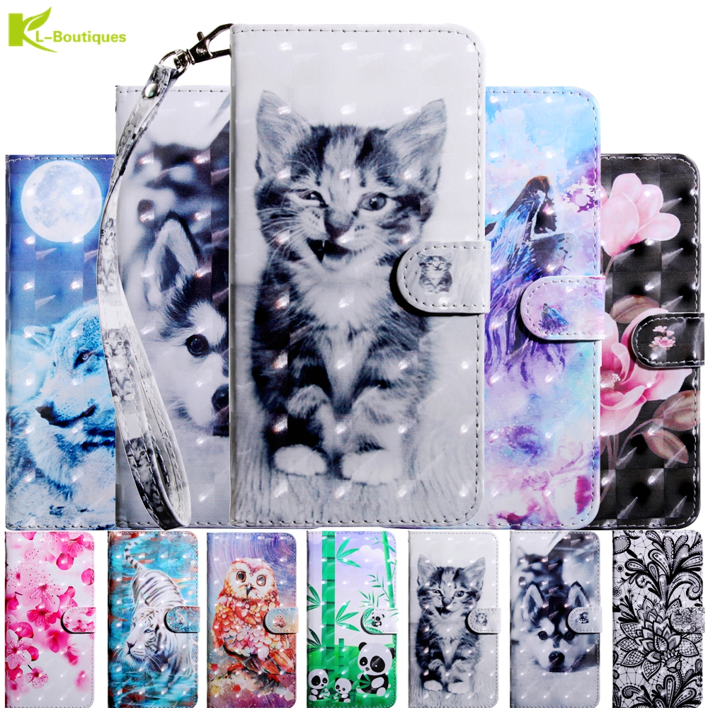 Leather Case Etui For Sony Xperia XA1 Ultra XA1 Case on For Coque Soni Experia L1 G3311 Case Cartoon Flower 3D Wallet Flip Cover