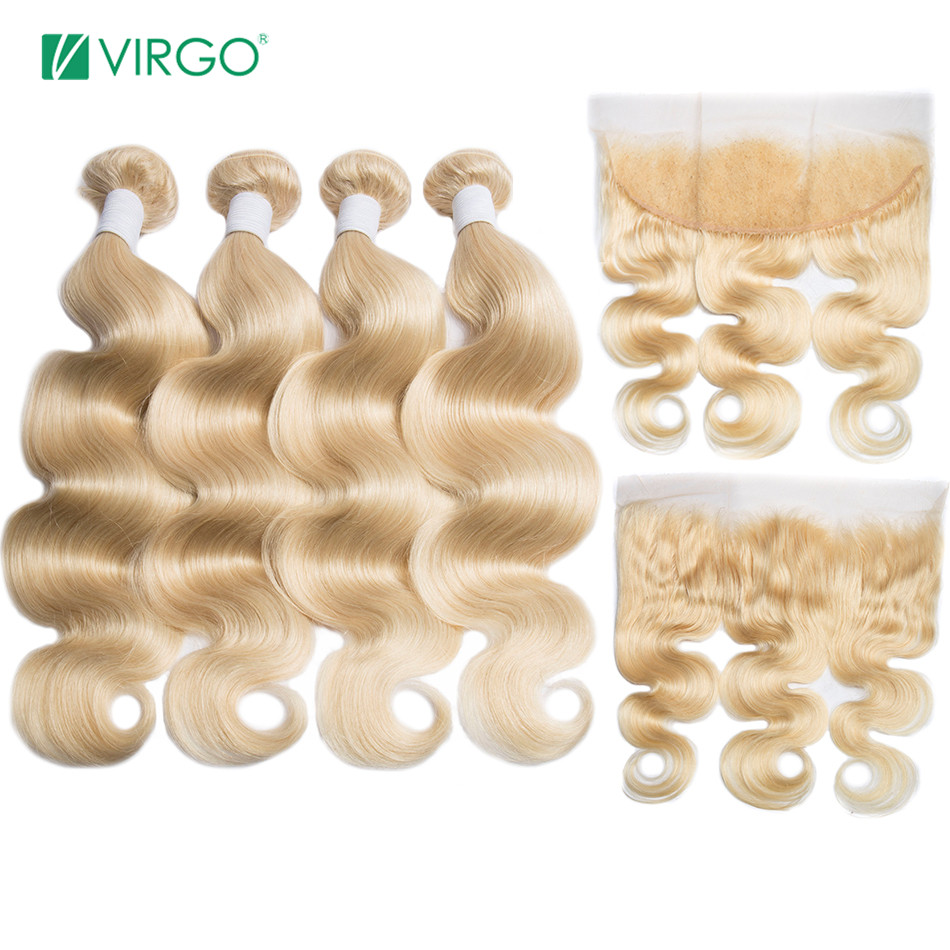 Virgo 613 Bundles With Frontal Peruvian Omber Blonde Bundles With Closure 4 Pcs/Lot 100% Human Hair Bundles Remy Hair