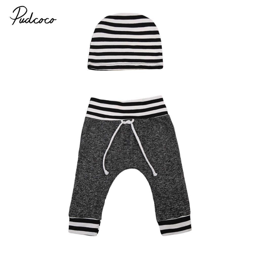 2017 nueva marca recién nacido bebé Infante niños niñas pantalones rayados estampado Fondo Casual pantalones sombrero 2 piezas