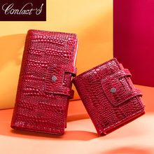 Fashion Contacts Genuine Leather wallet women clutch bag hasp female Coin Purse rfid Card Holder wallets for women carteras