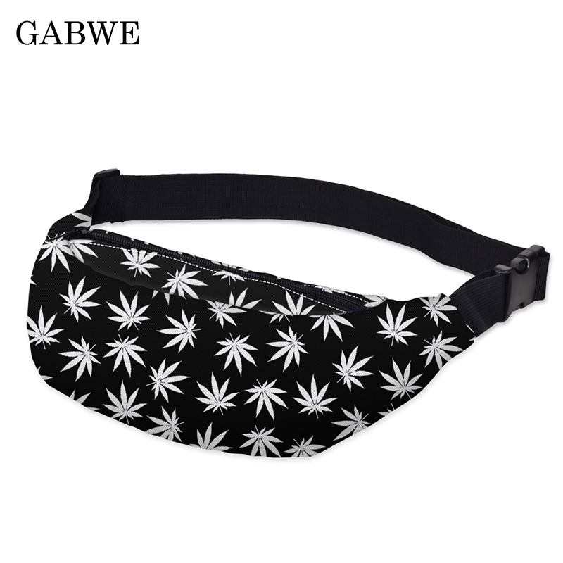 GABWE New Colorful Waist Bag For Men Fanny Packs Style Belt Bag Maple Leaf Women Waist Pack Travelling Mobile Phone Bags