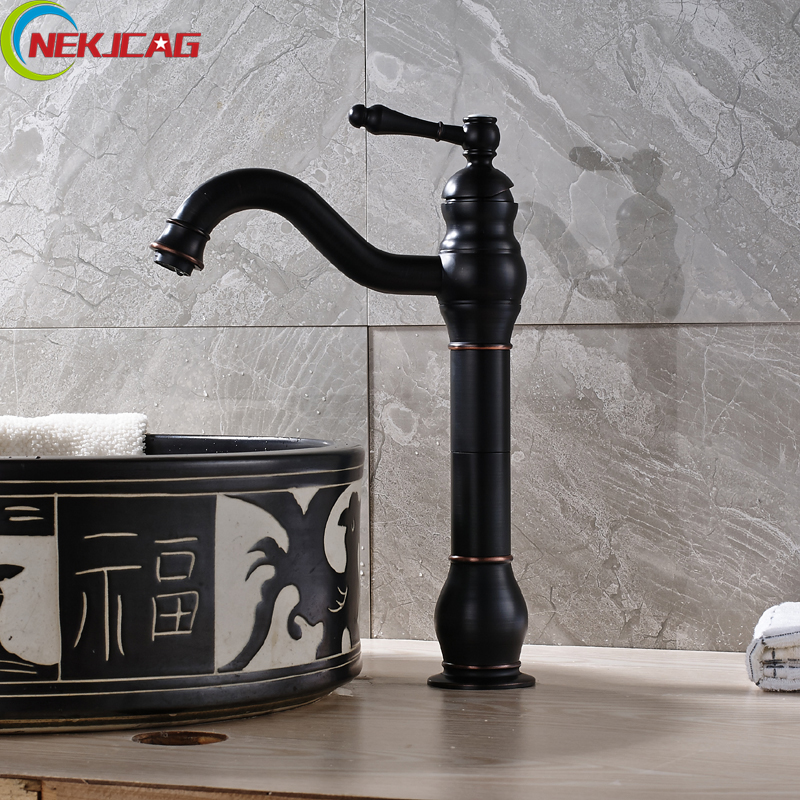 Wholesale and Retail Oild Rubbed Bronze Waterfall Bath Faucet Tall Rotation Basin Sink Mixer Tap Free Shipping