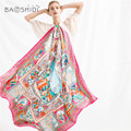Luxury Twill Women 100% Silk Solid Scarf Oversize Sunscreen Shawl Infinity Beach Wrap,manual printing & hand rolled