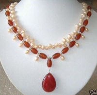 Vogue red Rubye and pink pearl Jewellery necklace