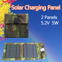 Solar Charger 5 2V 5W Outdoor Foldable Camouflage Mobile Solar Charge For IPhone IPad HTC SAMSUNG