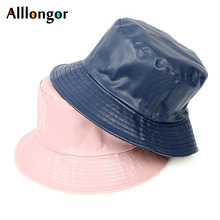 Fashion Spring 2019 Bucket Hats Men Leather Solid Black Flat Fishing hat  chapeu bucket Women Caps 146615727b2d