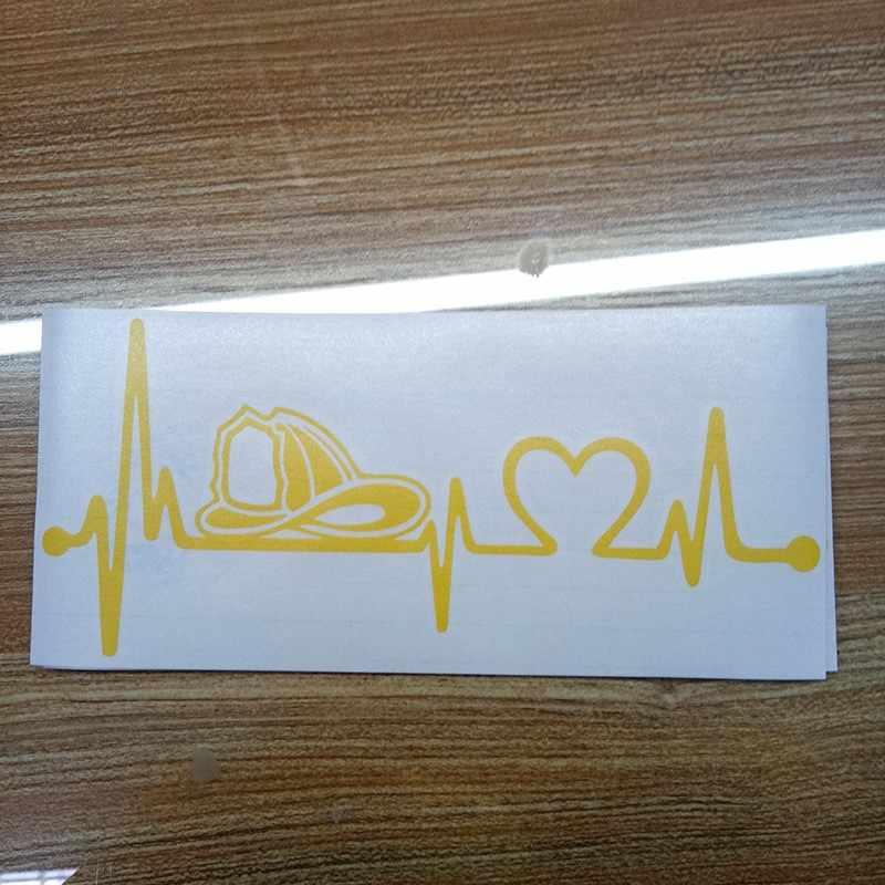 20.3 سنتيمتر * 8.9 سنتيمتر رجال الاطفاء خوذة ضربات القلب شريان الحياة سيارة ملصق الفينيل