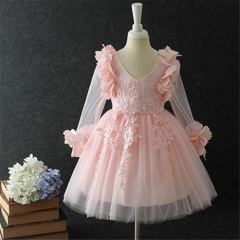 Pink Little Girls Cute Flower Girls 2018 Summer Lace Dresses Tutu Princess Long Sleeves Birthday Party Pageant Formal Prom Dress girls lace mesh half sleeves dress for princess pageant wedding bridesmaid birthday formal party