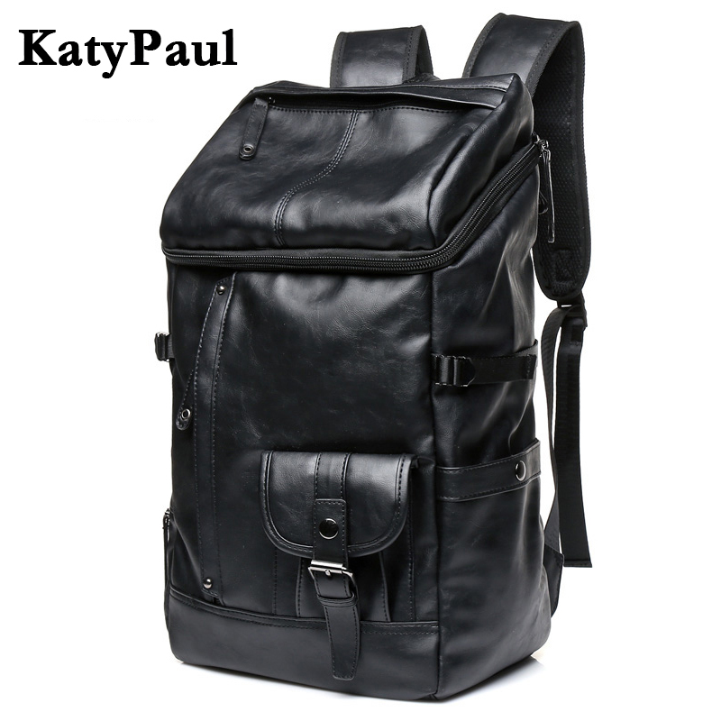 KatyPaul Brand Man Leather Casual Solid Daypacks Travel Large Capacity Backpack Students 16 Inches Laptop Schoolbag Men Mochila