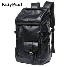 KatyPaul Brand Man Leather Casual Solid Daypacks Travel Large Capacity Backpack