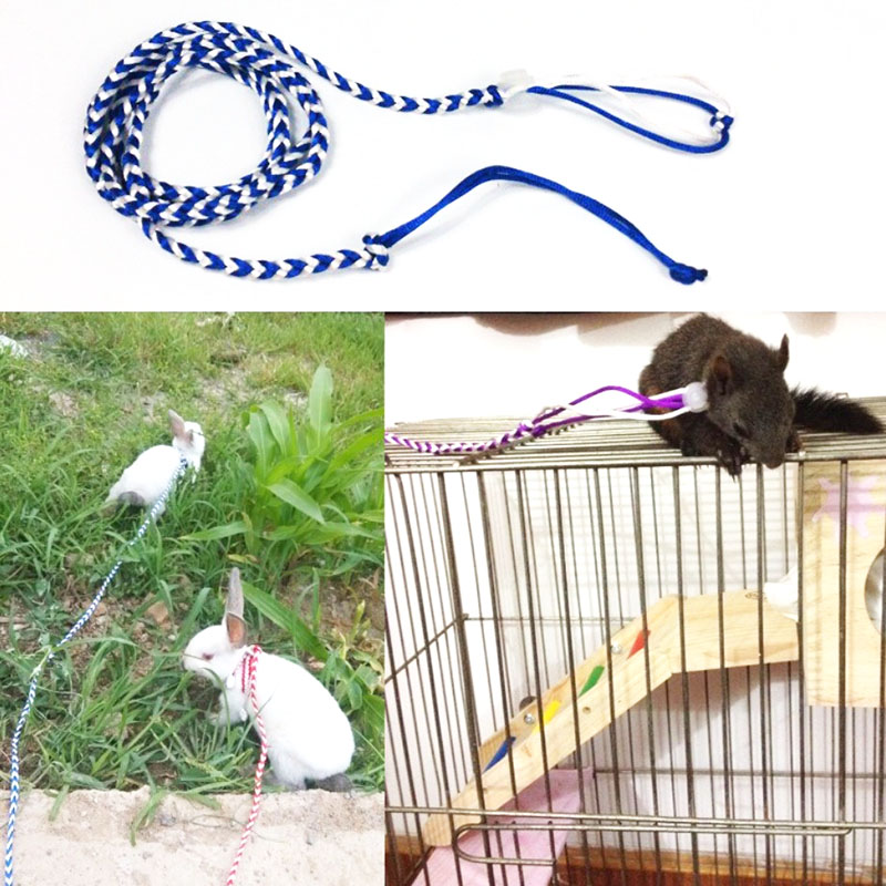 Adjustable Pet Hamster Harness Rope Gerbil Cotton Rope Harness Lead Collar For Rat Mouse Hamster Pet Cage Leash 1.4m